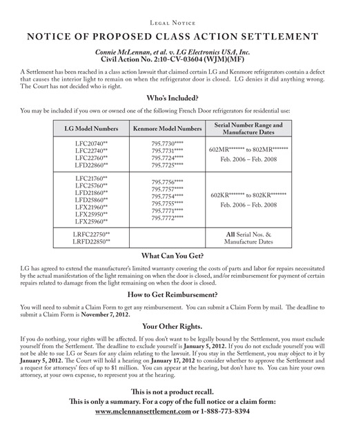 Kenmore, LG Refrigerator Settlement Notice