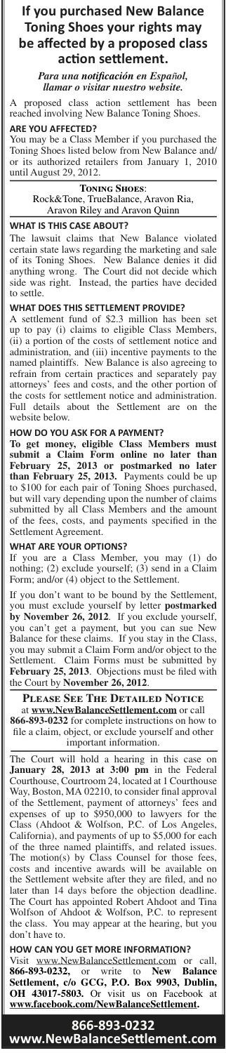New Balance Settlement Notice