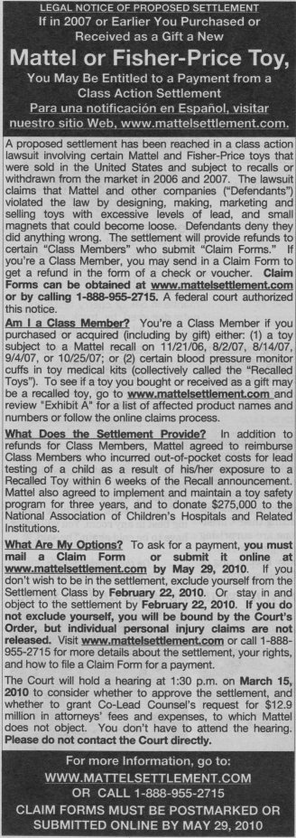 Mattel Toys Lead Paint Class Action Lawsuit Settlement Notice