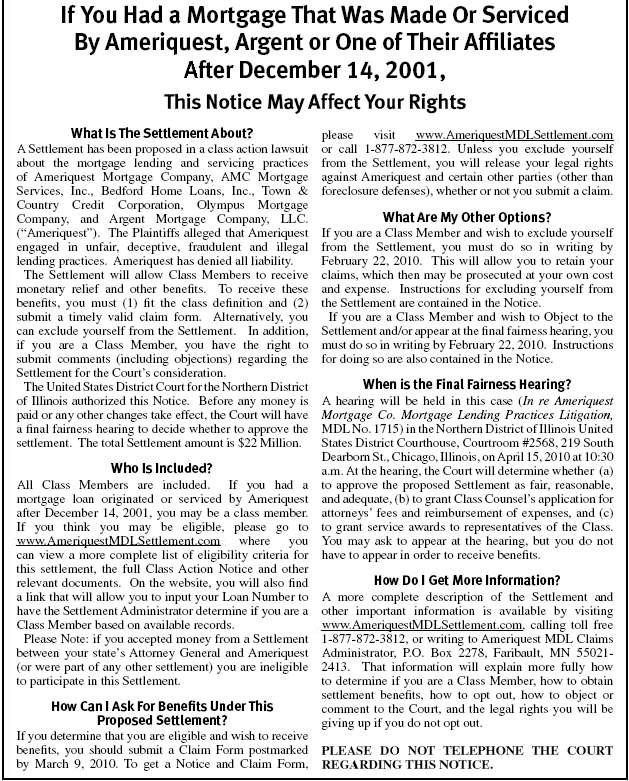 Ameriquest Mortgage Class Action Lawsuit Settlement Short Form Notice
