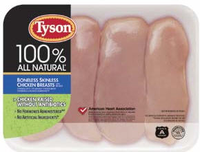 Tyson Chicken Raised Without Antibiotics Package