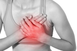Acute pain in a woman chest. Isolation on a white background